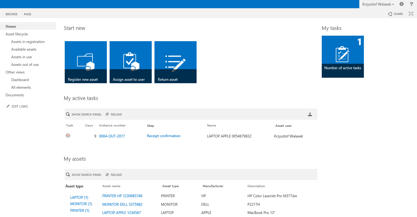 IT Asset Management sharepoint form