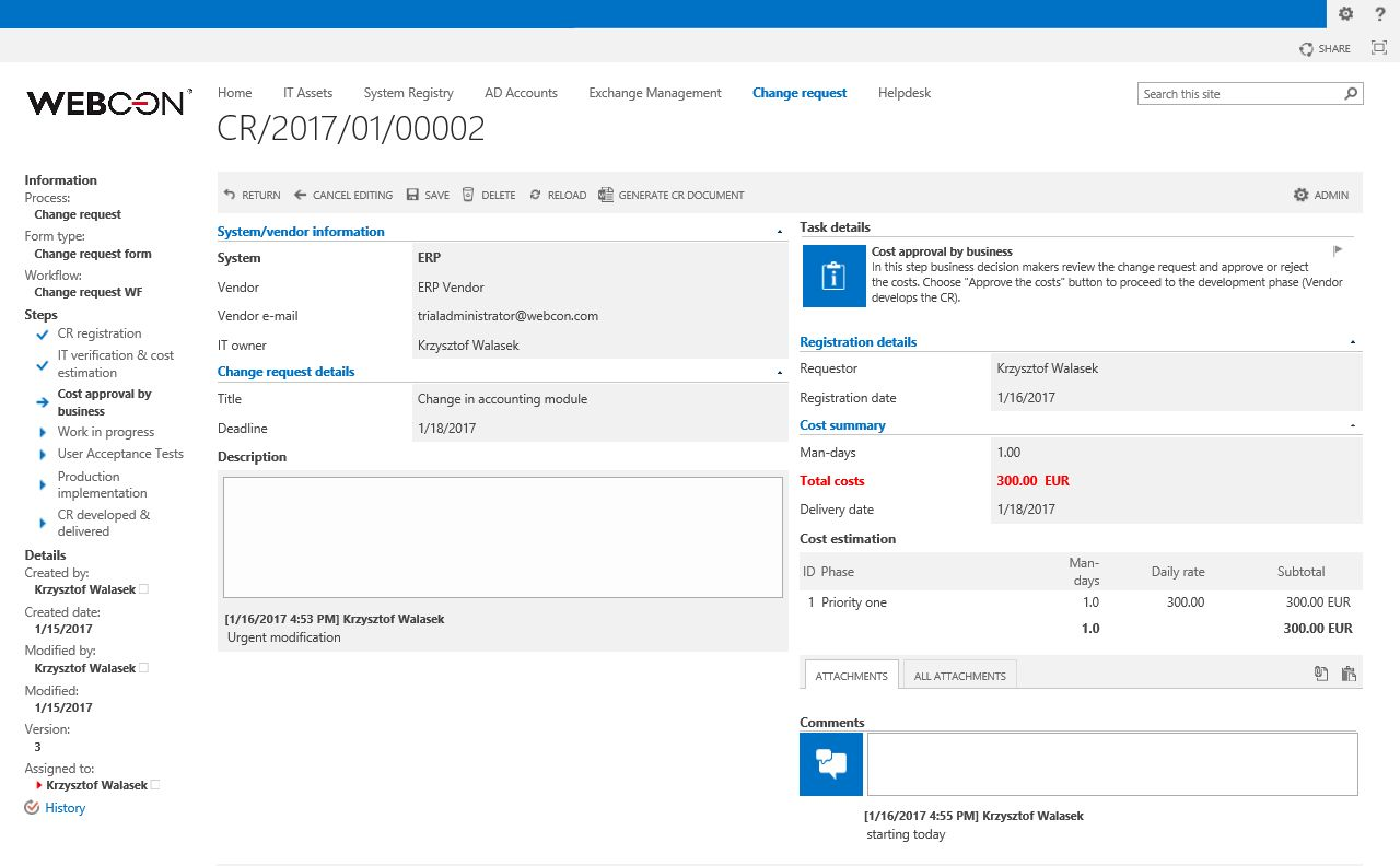 change-request-sharepoint-form